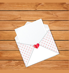 opened envelope with empty blank and heart stamp vector image