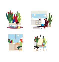 People working online from home in different rooms vector