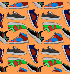 Pictures of colored sneakers seamless vector