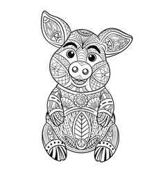 pig coloring page hand drawn vector image