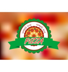 Pizza banner on color background vector image