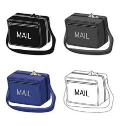 Postal bagmail and postman single icon in cartoon vector
