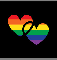 Pride interlocking rainbow hearts vector