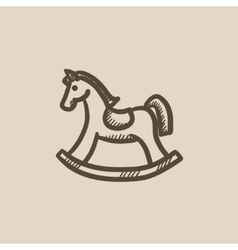 Rocking horse sketch icon vector image