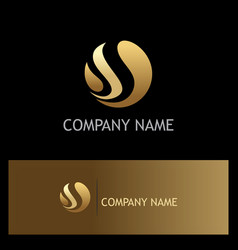 round sphere gold wave logo vector image