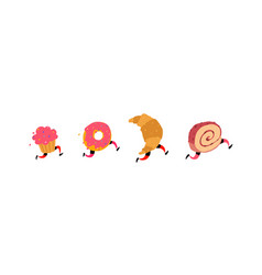 running cake donut croissant and roll icons for vector image