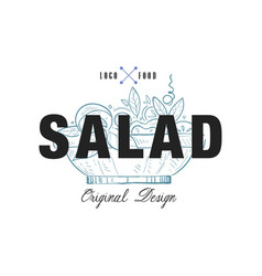 salad food logo original design retro emblem vector image