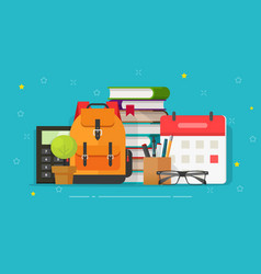 school bag and education objects on desk vector image