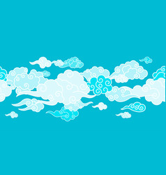 Seamless border with chinese clouds vector