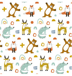 Seamless woodland pattern with cute bear fox vector