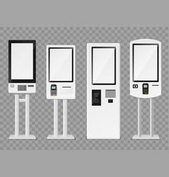 Self-ordering kiosk floor standing and wall vector