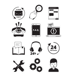 service center black icons tech 24h support vector image