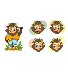 Set cartoon images kids bulls with different vector