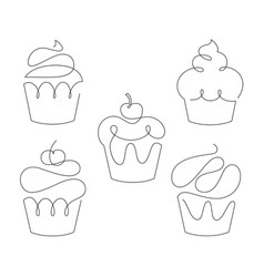 Set of cupcakes in trendy one line style vector
