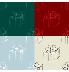 Set of gift boxes seamless patterns vector image