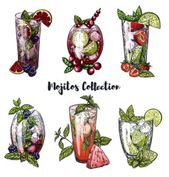 set of six colorful sketches of mojito cocktails vector image