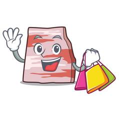 Shopping pork lard character cartoon vector