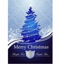 Silver-blue Christmas tree vector
