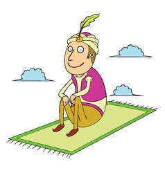 Sitting on flying carpet vector