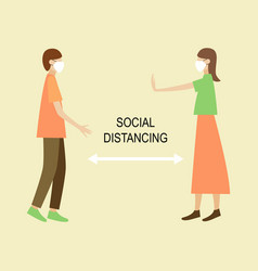 social distancing keep distance in public society vector image