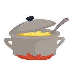 Soup in saucepan or stove broth or bouillon vector