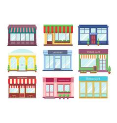 store flat buildings cartoon shop facade vector image