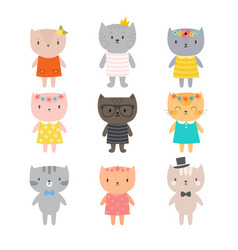 Stylish cats cute kittens for your design trendy vector