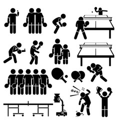 Table tennis player actions poses stick figure vector