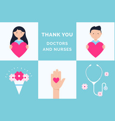 thank you doctors and nurses gratitude to vector image