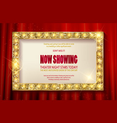 theater sign or cinema sign on red curtain vector image