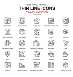 thin line travel and tourism icons set vector image