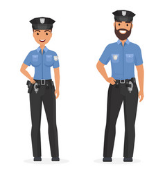 two young happy police officers man and woman vector image