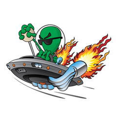 Ufo alien area 51 hot rod vector
