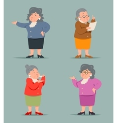 Vintage Art Adult Old Female Granny Character Icon vector