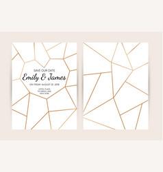 Wedding invitation card set modern design vector