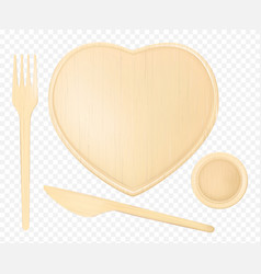 wooden heart plate with fork knife and glass vector image
