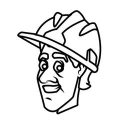 worker face with helmet cartoon vector image