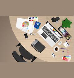 workplace of office worker designer vector image