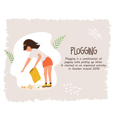 young girl doing plogging eco poster template vector image