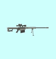 50cal caliber sniper rifle big gun with flat style vector image