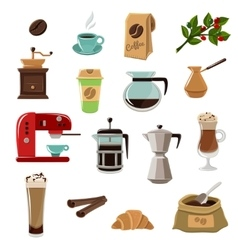 Coffe Retro Flat Icons Set vector image