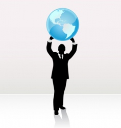 businessman lifting world vector image vector image