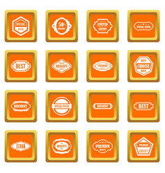 golden labels icons set orange vector image vector image