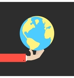 hand holding blue and yellow earth vector image
