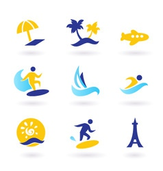 retro summer and travel icons vector image vector image