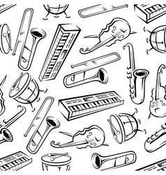 Seamless sketchy musical instruments pattern vector image