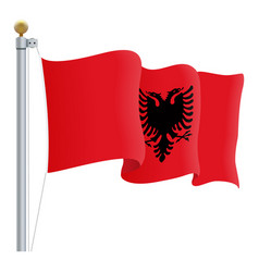 waving albania flag isolated on a white background vector image vector image