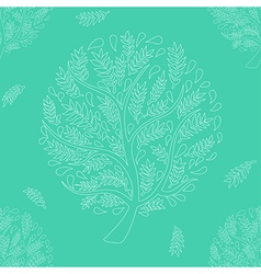 White Tree on Green Background vector image vector image