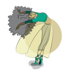 Woman dances ballet in pointe shoes eps 8 vector