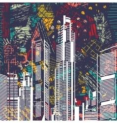 Art sky scraper abstract city view night landscape vector image